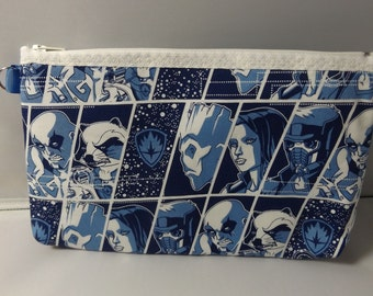 Guardians of the Galaxy  Fabric Zipper  Pouch  Handmade -- Pencil Pouch, Gadget Pouch  Blue