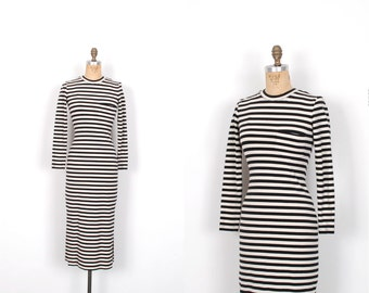Vintage 1990s Dress / 90s Perry Ellis Striped Body Con Dress / Black and White (XS S)