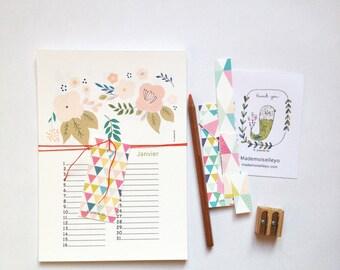 Birthday Calendar - botanical illustrations, perpetual birthday calendar, permanent calendar, perpetual wall calendar