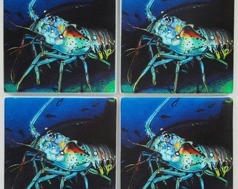 Spiny Florida Lobster Sandstone Coaster set of 4 fishing gift box included