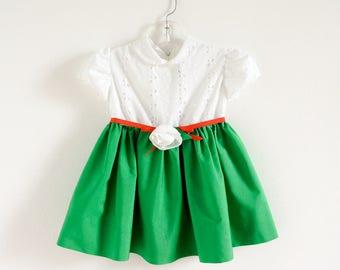 "Vintage 1960s Girls Size 2-3T Elena Diran Original Cotton Party Dress VGC / chest 22"" length 17"" / Eyelet Bodice Gathered Skirt Flower Belt"