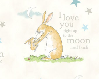 Guess How Much I Love You 3 Fabric I Love You Right up to the Moon and Back Mom and Baby Bunny on Ivory White
