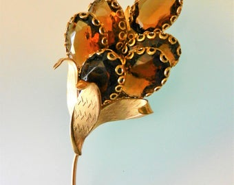 Pompous cluster of oval stones topaz floral bouquet  high end designer brooch - generous spark & exaggerated  elegance - art.717/4-