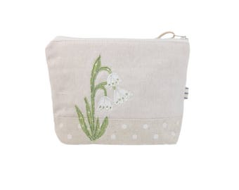 Floral Makeup Case,  Cosmetic Bag, Gift for Mum,  Zip Pouch, Gift for Teacher, Botanical Style Pouch, Wildflower Pouch