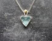 Raw Sky Blue Topaz Heart Necklace Silver 22k Yellow Gold Natural Primitive Rough Tumbled Gemstone Pendant December Birthstone - Himmelherz