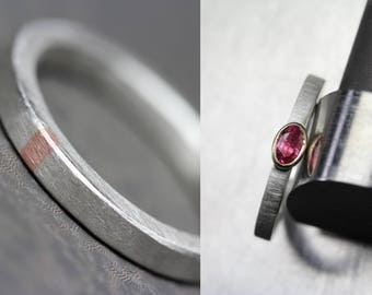 Simple Red Oval Ruby Engagement Ring 14K Rose Gold And Unique Narrow Men's Wedding Band Silver Copper Inlay - Rubicund and Subtle Pink