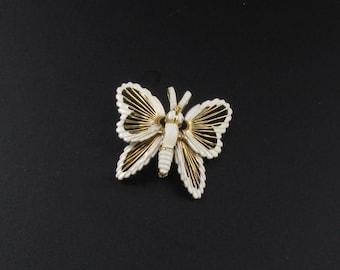 Monet Wire Work Butterfly Brooch, Enameled Wire Work Brooch, Gold Brooch, Insect Brooch, Bug Brooch, Enameled Brooch, Enameled Butterfly Pin