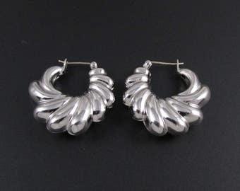 Silver Hoop Earrings, Scalloped Earrings, Silver Earrings, Napier Earrings, Puffy Hoop Earrings, Medium Hoop Earrings, Light Hoop Earrings
