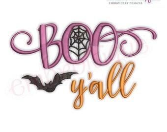 Boo Ya'll -Fun Halloween Fall Ghost  -Instant Download Machine Embroidery Design