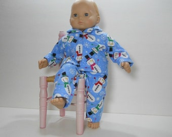 15 inch doll clothes made to fit dolls such as Bitty Baby®, Blue Snowman Pajamas, 10-1445