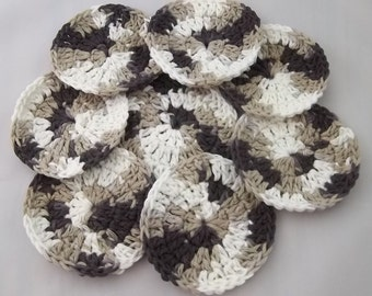 Facial scrubbies, cotton pads, wash cloths, for him, camoflage, cotton rounds, reuseable, go green, cleansing pads, stocking stuffer