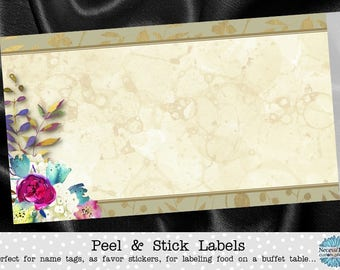 10 Blank Food Label Stickers, Food Buffet Labels, Name Tags, Watercolor Florals, Flowers, Wedding. Bridal or Baby Shower, Birthday Party