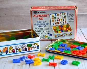 Vintage Chadwick Alphabet Tin Magnetized Letters Educational Preschool Toy