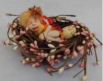 Annora Spring Sleeping Baby OOAK Fairy in Birds Nest Fairies Art Doll NEW Scultpure Figurine Fantasy Art