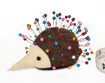 Pincushion, Hedgehog, upcycled wool, handmade, Cardamom Chickweed