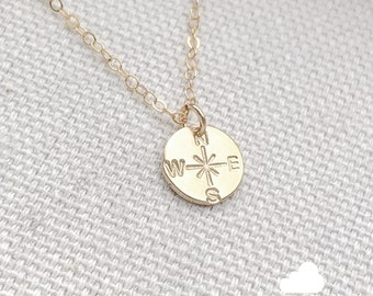 NEW Sale - Cardinal Direction - North East South West 9mm Disc Necklace in gold - Little Compass Circle Charm Personalized thelovelyraindrop