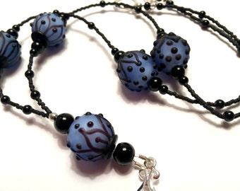 Elegant Blue Glass Lampwork Beads: Lanyard ID Badge Holder.