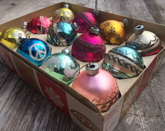 Vintage box of Made in USA Coby flocked glass ball ornaments, 1960s original box 12 multi color ornaments, vintage Christmas bulb ornament