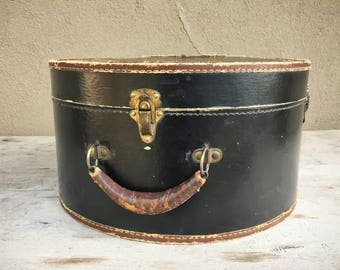 Victorian hat box luggage black with brown leather trim, antique train case photo prop, vintage suitcase, round luggage, industrial decor