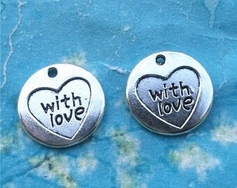 Heavy and Strong 15 pieces 20mm antiqued silver with the word heart with love more and more round charms findings