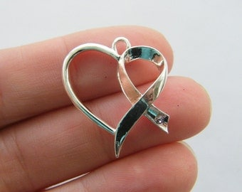 4 Heart awareness ribbon charms silver plated M864