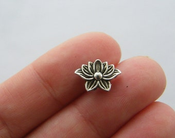 14 Lotus spacer beads antique silver tone F40