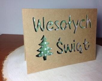 Wesołych Świąt - paper cut out Christmas card in Polish