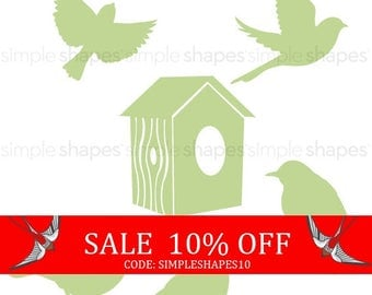 Sale - Additional Set of Birds and Birdhouse for Shelving Tree Wall Decal