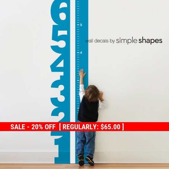 Holiday Sale - Growth Chart Numbers Wall Decal, Numbers Wall Decal, Growth Chart Wall Decal, Kids Vinyl Wall Decal