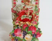Antique Valentine Crepe Fold Out 3 D Cupid Roses Dove Die Cut Embossed