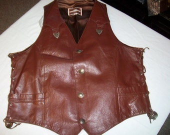 Mens Leather Vest  Pioneer Wear of Albuquerque Size 44   Buffalo Nickel Buttons  Silver Trim  1970