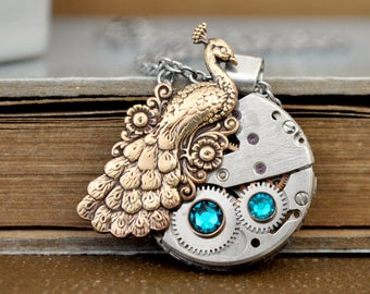 THE ROYAL PEACOCK Steampunk Victorian style brass peacock necklace with pink Swarovski glass jewels and vintage jeweled watch movement