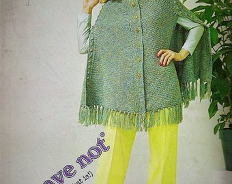 Crochet Pattern - Cape/Poncho - S/M/Large sizes - Worsted