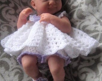 Crochet Pattern - Baby Doll or Preemie Baby Dress, Bloomers and Flower Shoes - 14 inch height
