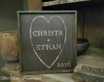 Primitive Personalized Heart Wooden Family Name Sign