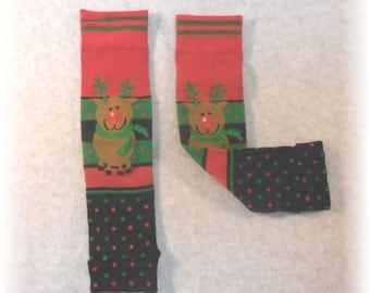 Leggings Reindeer for Baby or Toddler Leg or Arm Warmers - Red Nosed Reindeer Baby Toddler Child (one size fits most)