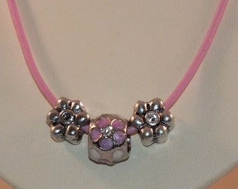 Pink Cord Necklace With Silver Charm Beads
