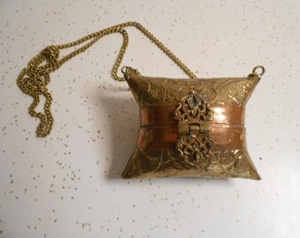 Antique-Vintage Copper and Brass Small Change Purse with Chain Deco Art Style Pill Case with Chain 30's-50's Era