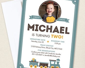 Vintage Train Party Photo Invitations - Professionally printed *or* DIY printable