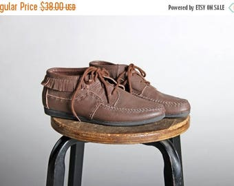 SALE Vintage Leather Fringe Chukka Boots - Brown Loafers Flat Moccasin Lace Up Casual Summer Shoe Boot Southwest Boho Hippie - Size 8