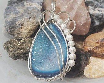 Blue Druzy Pendant - Sterling Silver Wire Wrapped - Handmade Jewelry- Necklace - Druzy Sterling Silver - Sterling Stardust Beads