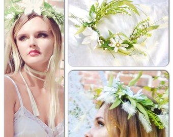 Music festival crown, Boho hair wreath, Festival hair, Bohemian woodland crown, daisy and pearl fairy hair crown, Tiara, True rebel clothing
