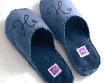 Hand-stitched felt slippers, comfy slippers, fathers day gift, monogram, monogram slippers, fathers day gift, gift for grandpa