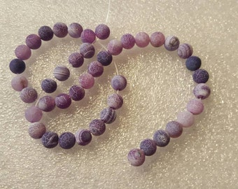1 strand purple Dragon Vein 6mm Beads-Approx 44 beads