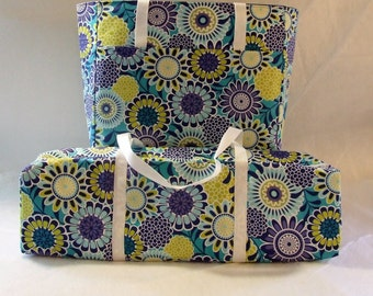 Silhouette Cameo 1 or 2 Carrying Case / Cricut Expression / Accessory Bag / Laptop Bag / Blue, Lime, Yellow Medallion Print Fabric
