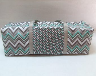 Carrying Case for the Cricut Explore, Explore Air 1 & 2, Brother ScanNCut, Cricut Expression 2 , Silhouette Cameo 3 / Gray and Mint Chevron