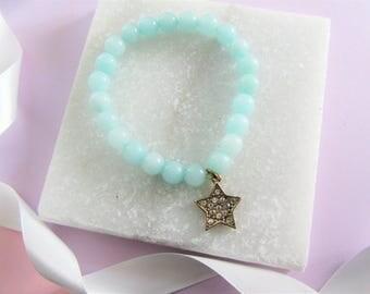 Beaded Charm Bracelet, turquoise beaded star bracelet,Star Charm,Mothers Day Gift, Bridesmaids Gifts, Flower Girl Gifts,Gift for Mom Mum Her