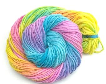 Handspun, hand painted rainbow yarn, bulky/chunky, merino wool - 80 yards, 2.35 ounces and 68 grams