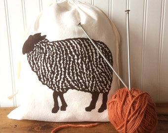 Knitting Project Bag, Organic Linen Drawstring Bag, Brown Sheep Design