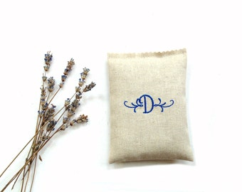 Monogram sachet gift, embroidered sachet organic lavender sachet drawer freshener, bridesmaid gift for her, initial sachet bag